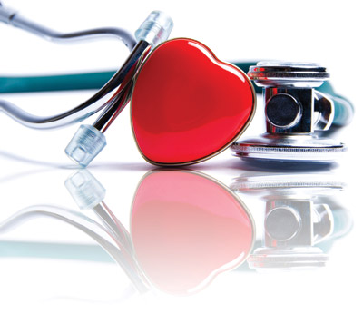 stethoscope wrapped around a red heart